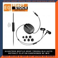 AVANTREE BEETLE ADHF-TR505A-BLK AUTO-RETRACT CLIP ON EARPHONES W/ MIC