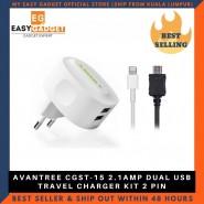 AVANTREE CGST-15 2.1AMP DUAL USB TRAVEL CHARGER KIT 2 PIN