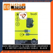 BUDI M8J053U 2.1A USB HOME CHARGER + 1.2 METER LIGHTNING CABLE - BLACK