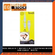 BUDI M8J010 1 METER 2 IN 1 LIGHTNING/MICRO USB CABLE - WHITE