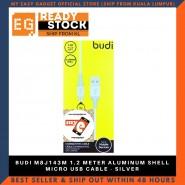 BUDI M8J143M 1.2 METER ALUMINUM SHELL MICRO USB CABLE - SILVER