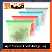 4pcs Reusable Silicone Food Storage Bag Food Grade Vegetable Storage Bag Versatile Preservation Bag Container Reusable and Sealable