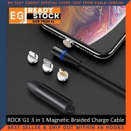 ROCK G1 3 in 1 Magnetic 3A Braided Charge and Sync Type C Lighting Micro USB Cable - Black