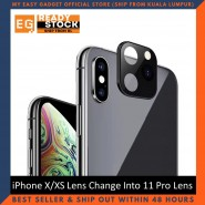 iPhone X/XS Lens Change Into 11 Pro Lens Metallic Glass Integrated Lens Cap - Black