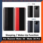 Huawei Mate 30 / Mate 30 Pro Case Original Pu Luxury Leather Flip Cover Full Protection Smart Window View Phone Case(Free Tempered Glass)