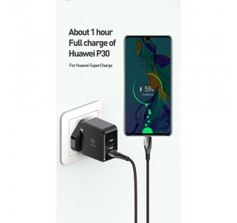 Mcdodo 2 In 1(Type C/USB) 30w PD 3.0 Quick Charge Adapter Ch-6931 Free (Mophie Type-C to Lightning Cable)